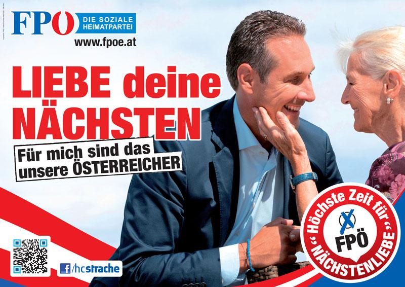 """FPÖ-Kampagne 2013: Parteichef Hans Christian Strache als Mischung aus politischer Erlöser und Schlagerschnulzenstar auf """"Nächstenliebe-Tour""""."""