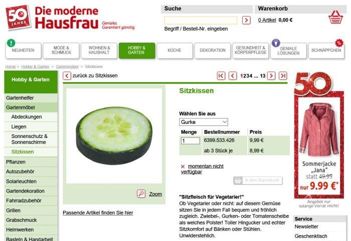 """""""Sitzfleisch für Vegetarier"""" verspricht dieses Sitzkissen. Zum Reinbeißen lustig!"""